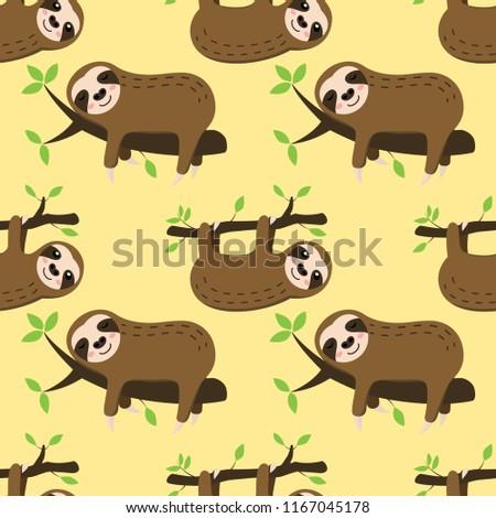 seamless sleeping sloth vector pattern background