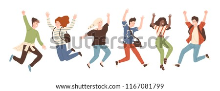 Group of young joyful laughing people jumping with raised hands isolated on white background. Happy positive young men and women rejoicing together. Colored vector illustration in flat cartoon style.