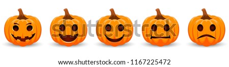 Set pumpkin on white background. The main symbol of the Happy Halloween holiday. Orange pumpkin with smile for your design for the holiday Halloween. Vector illustration. #1167225472