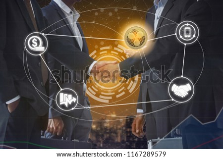 Ripple XRP and cryptocurrency payment acceptance concept - Businessman handshaking showing accepted payment by using Ripple coin. Blockchain and financial technology. #1167289579