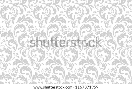 Floral pattern. Vintage wallpaper in the Baroque style. Seamless vector background. White and grey ornament for fabric, wallpaper, packaging. Ornate Damask flower ornament.