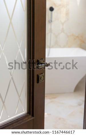 opened vintage wooden door #1167446617