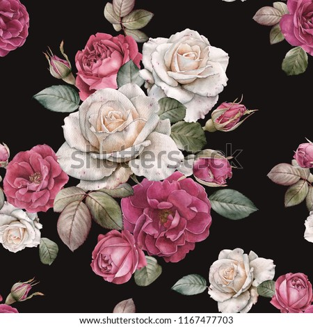 Floral seamless pattern with watercolor roses