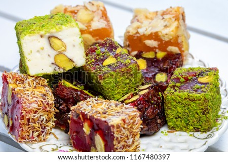 Traditional Turkish Delight Royalty-Free Stock Photo #1167480397