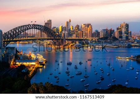 Panorama of Sydney harbour and bridge in Sydney city, New south wales, Australia #1167513409