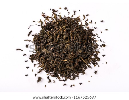 Dry tea leaves isolated on white background. #1167525697