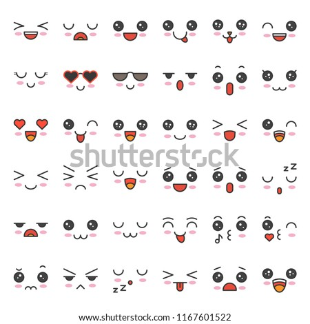 cute emotion face in various expession, editable stroke icon set 1/5