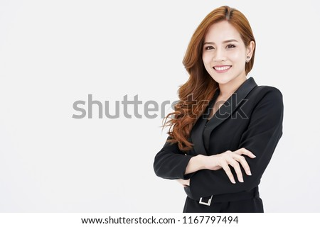 Entrepreneur pretty young asian woman  ,business woman arms crossed on white background.