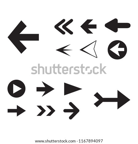 Arrow icon set isolated on white background. Trendy collection of different arrow icons in flat style for web site. Creative arrow template for app, ui and logo. Vector illustration, eps 10 #1167894097
