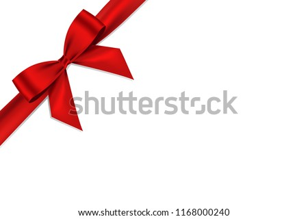 Red bow shiny realistic satin and ribbon with shadow place on corner of paper  for decorate your greeting card,vector isolated on white background.