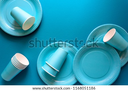 Table setting with paper ware for summer picnic or BBQ. Top view. Flat lay. #1168051186