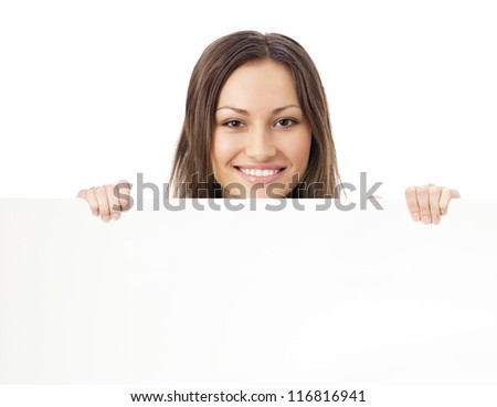 Happy smiling young beautiful woman showing blank signboard, isolated over white background #116816941