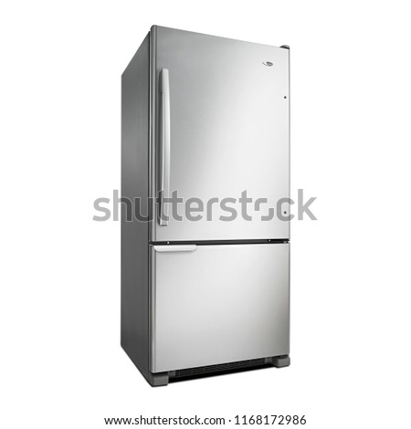 Bottom Mount Fridge Isolated on White Background. Side View of Stainless Steel Side by Side Double Door Refrigerator. Modern Kitchen and Domestic Appliances. Full Frost Free Freezer #1168172986
