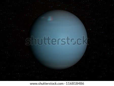 3D solar system series: Uranus with stars in the background. View anaglyph with red/cyan glasses. Elements of this image furnished by NASA.