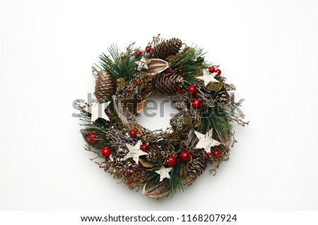 beautiful Christmas wreath isolated on white background #1168207924