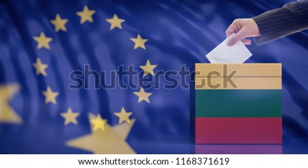 Elections in Lithuania for EU parliament. Hand inserting an envelope in a Lithuanian flag ballot box on European Union flag background. 3d illustration #1168371619
