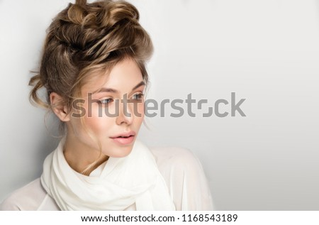 woman portrait beautiful natural make up perfect undo and messy hair, pink color  #1168543189