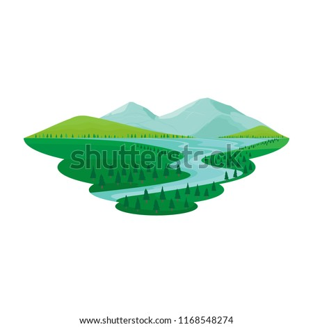 Lake and River Pine Forest Mountain View Landscape Vector Royalty-Free Stock Photo #1168548274