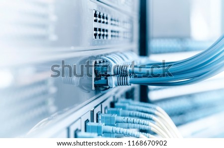 Network panel, switch and cable in data center #1168670902