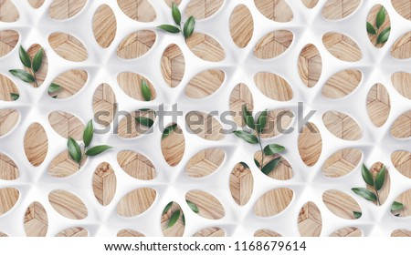 Matte white body shape with perforated protuberances and depressions in the form of a flower with leaves on a wooden background. High quality 3d texture.