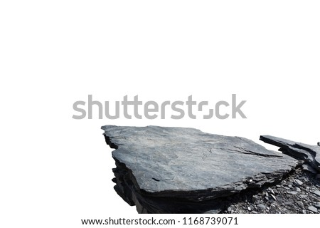 Cliff stone located part of the mountain rock isolated on white background. Royalty-Free Stock Photo #1168739071