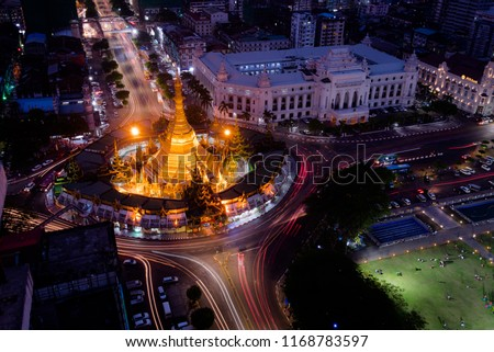 Night Scape Sule Pagoda Center of city in Yangon, Myanmar,downtown,Sule,pagoda.yangon,myanmar,city,night,lights,modern,road,cityscape,landscape. #1168783597