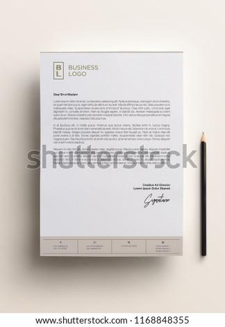Elegant letterhead template design in minimalist style Royalty-Free Stock Photo #1168848355