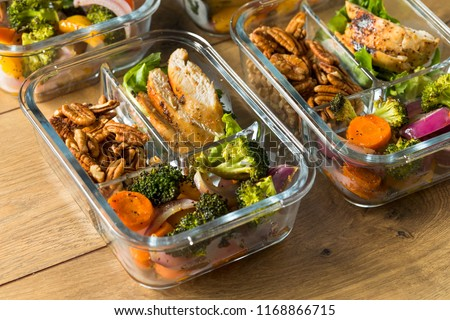 Homemade Keto Chicken Meal Prep with Veggies in a Container #1168866715