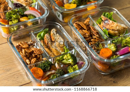 Homemade Keto Chicken Meal Prep with Veggies in a Container #1168866718