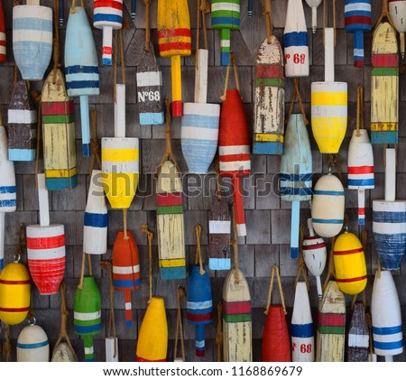 Buoys Commercial Street Provincetown Massachusetts Royalty-Free Stock Photo #1168869679