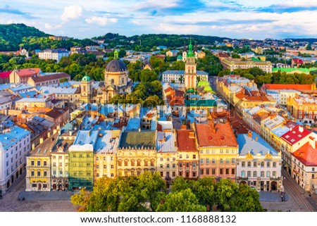 Scenic summer aerial view of the Market Square architecture in the Old Town of Lviv, Ukraine Royalty-Free Stock Photo #1168888132