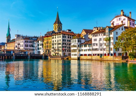 Scenic summer view of the Old Town pier architecture and Limmat river embankment in Zurich, Swizerland #1168888291