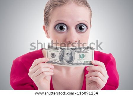 money concept. woman with a big surprise open eyes and mouth closed dollar