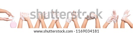 Asian kid girl hand washing isolated on white background medical procedure step by step. Royalty-Free Stock Photo #1169034181