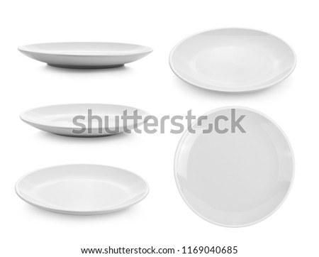 ceramic plate on white background Royalty-Free Stock Photo #1169040685