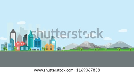 landscape city with bulding, mountain and road vector illustration #1169067838