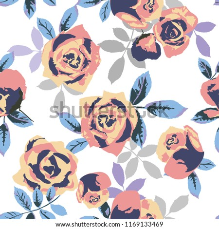 Seamless pattern with flowers and leaves. floral pattern for wallpaper or fabric