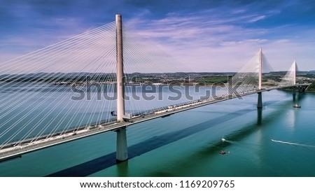 Aerial view of the Queensferry Crossing bridge near Edinburgh. #1169209765