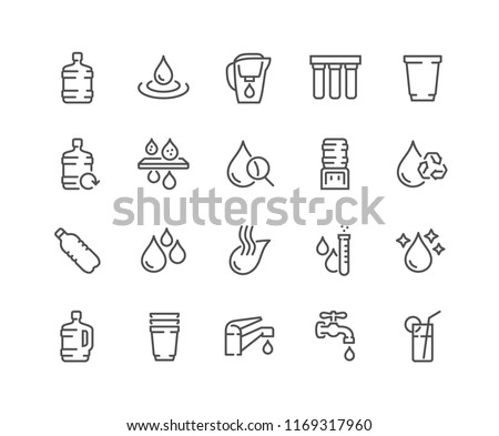 Simple Set of Water Related Vector Line Icons. Contains such Icons as Filter, Moister, Water Tap and more. Editable Stroke. 48x48 Pixel Perfect.