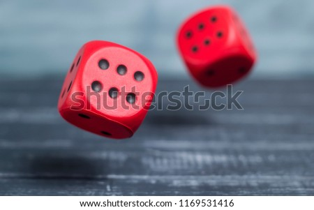 Two falling dice. Cubes in the air. #1169531416