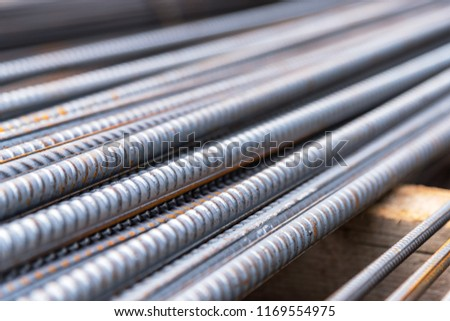 Steel rods bars used to reinforce concrete, Reinforcing steel bar, background, shallow depth of field #1169554975
