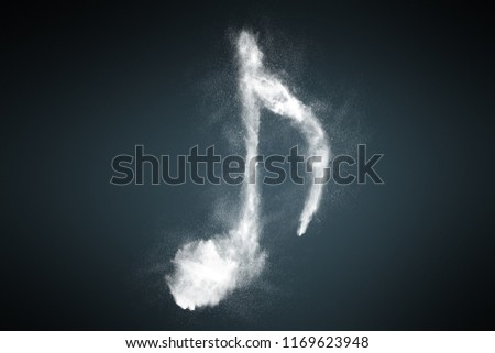 Abstract design of musical note symbol background made from dust particles. Powder particles sprayed over dark backdrop