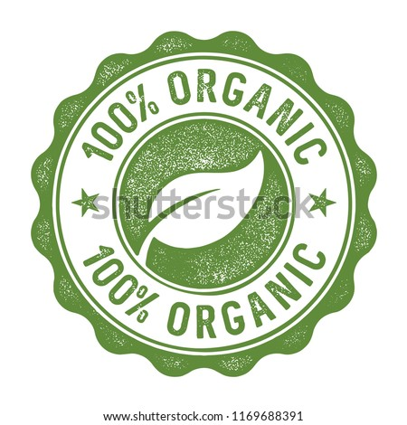 100 percent organic stamp/label Royalty-Free Stock Photo #1169688391