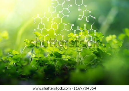 Plants background with biochemistry structure. Royalty-Free Stock Photo #1169704354