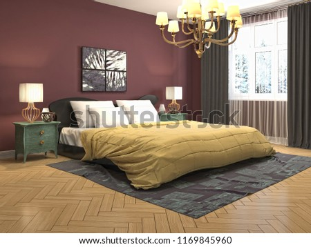 Bedroom interior. 3d illustration #1169845960