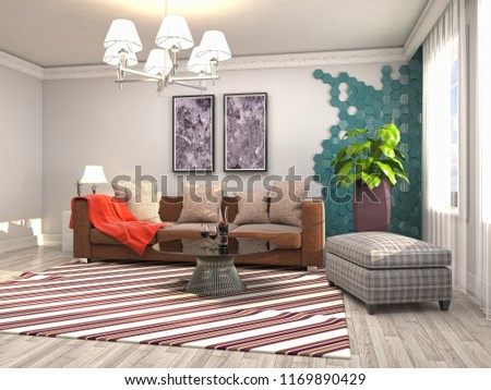Interior of the living room. 3D illustration #1169890429