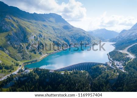 Aerial view of Fedaia lake #1169957404