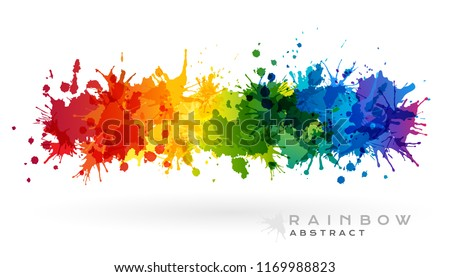 Rainbow creative horizontal banner from paint splashes. Design element in abstract style.