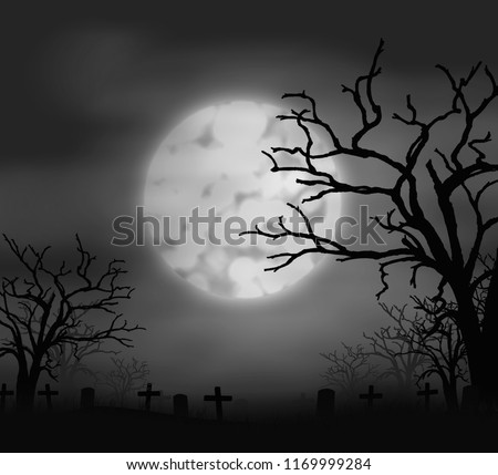 Silhouette of scary tomb Halloween  illustration with full moon and cemetery on the night sky background. #1169999284