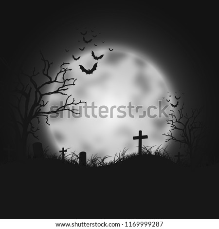 Silhouette of scary tomb Halloween  illustration with full moon and cemetery on the night sky background.  #1169999287